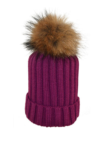Aubergine *Natural Pom* Ribbed Knit Hat