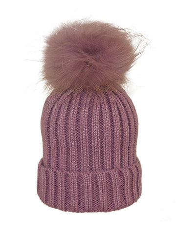 Kids (0-5) Coloured Pom Knit Hat * Pale Purple