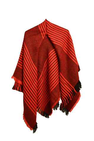 Mixed Stripes Blanket Scarf- Red
