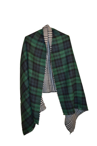 Double Faced Plaid Scarf- Green