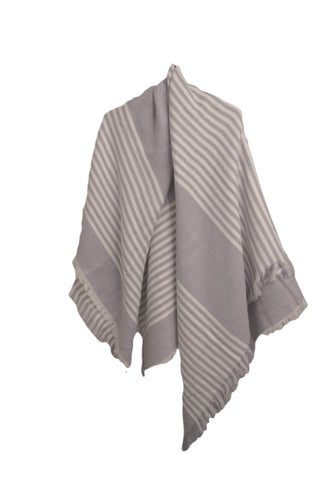 Mixed Stripes Blanket Scarf - White/Grey