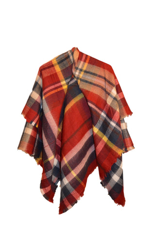 Checkered Plaid Blanket Scarf - Burgunday