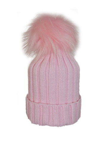 Baby Pink * Matching Pom * Ribbed Knit Hat