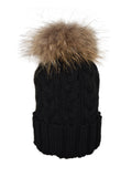 Black *Natural Pom* Cable Knit Hat