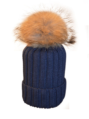 Navy *Natural Pom* Ribbed Knit Hat