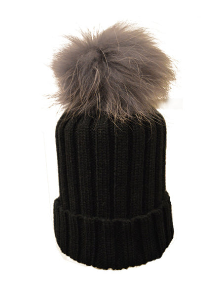 665563d6a4c Black  Dark Purple Pom  Ribbed Knit Hat – Flufff