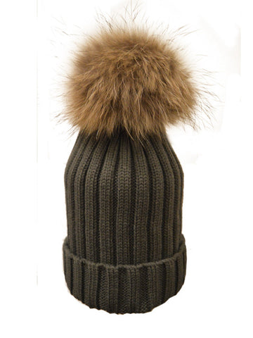 Charcoal *Natural Pom* Ribbed Knit Hat