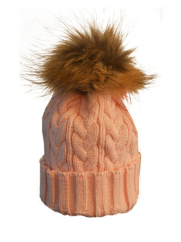 Baby Pink *Natural Pom* Cable Knit Hat