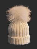 Kids (0-5) Coloured Pom Knit Hat * Ivory