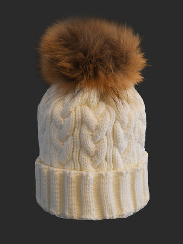 Ivory *Natural Pom* Cable Knit Hat