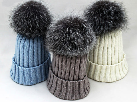 Silver Fox Pom - Knit Hat