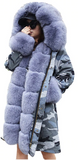 Camouflage Parka with Fox Fur Tuxedo and Hood
