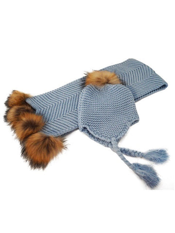 Baby Pom Pom Scarf and Hat Set * Pale Blue