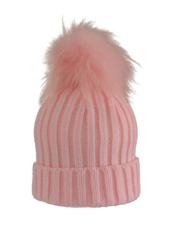 Kids (0-5) Coloured Pom Knit Hat * Pale Pink