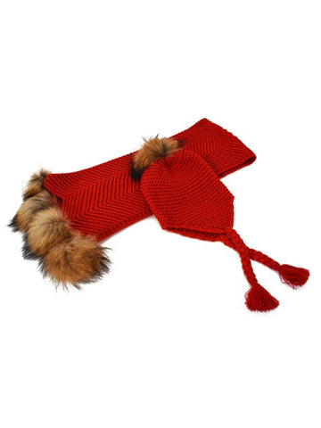 Baby Pom Pom Scarf and Hat Set * Red