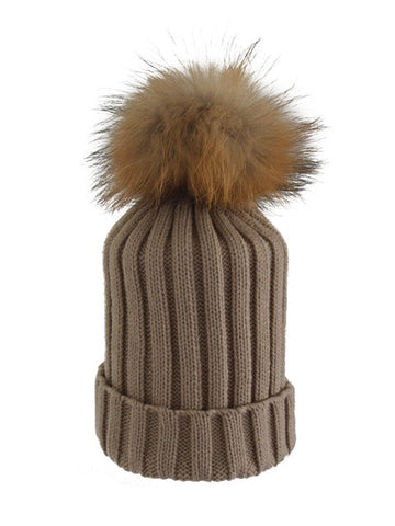 Beige *Natural Pom* Ribbed Knit Hat