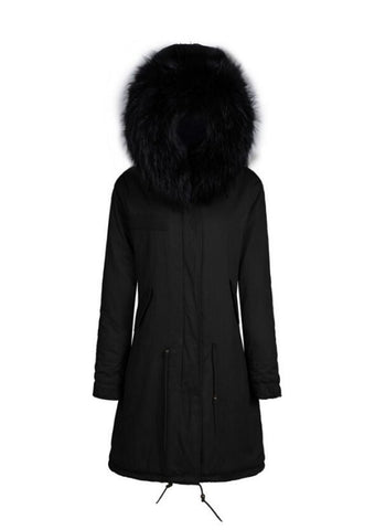 Black 3/4 Parka with Fur Hood
