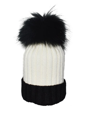 Charcoal & Grey * Beige Pom* Ribbed Knit Hat