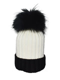 White & Black *Black Pom* Ribbed Knit Hat