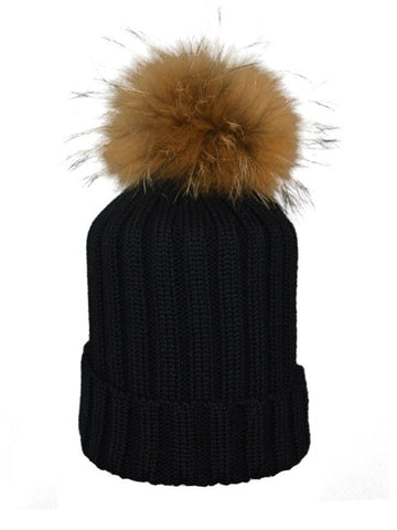 Black *Natural Pom* Ribbed Knit Hat