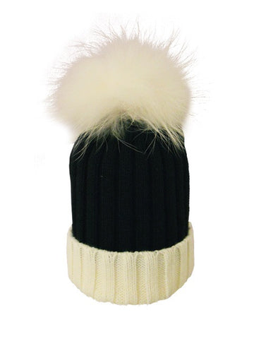 Black & White *White Pom* Ribbed Knit Hat