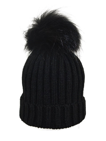 Kids (0-5) Coloured Pom Knit Hat * Black