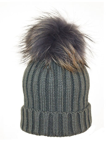 Kids (0-5) Coloured Pom Knit Hat * Charcoal