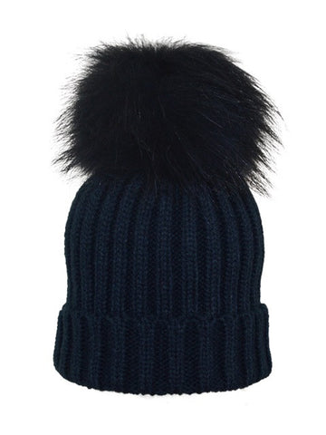 Kids (0-5) Coloured Pom Knit Hat * Navy