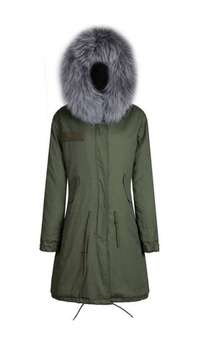 Green 3/4 Parka with Fur Hood