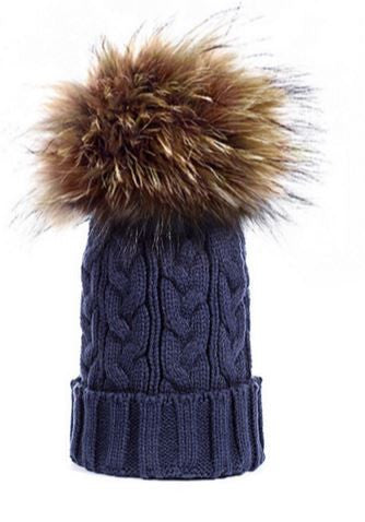 Navy *Natural Pom* Cable Knit Hat