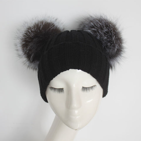 Silver Fox Double Pom Pom Hat