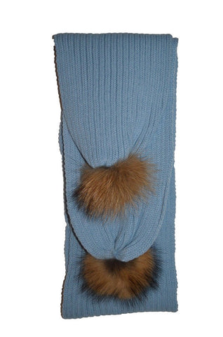 Baby Blue * Ribbed Knit Pom Scarf