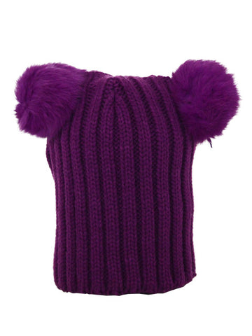 Kids Double Pom Pom Hat