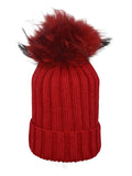 Red * Matching Pom * Ribbed Knit Hat