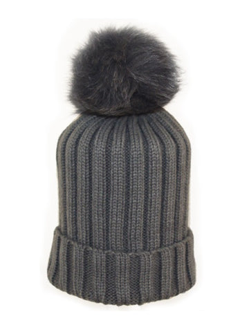 Kids (3-7) Coloured Fox Pom Knit Hat- Black