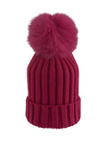 Kids (3-7) Coloured Fox Pom Knit Hat- Red