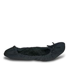 Women's Fleece Bendable Ballet Flats - Black