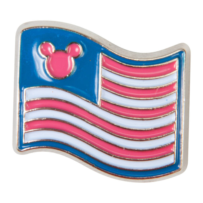 Disney Enamel Dawg Tag Shoe Charm - Mickey USA Flag (C1034)