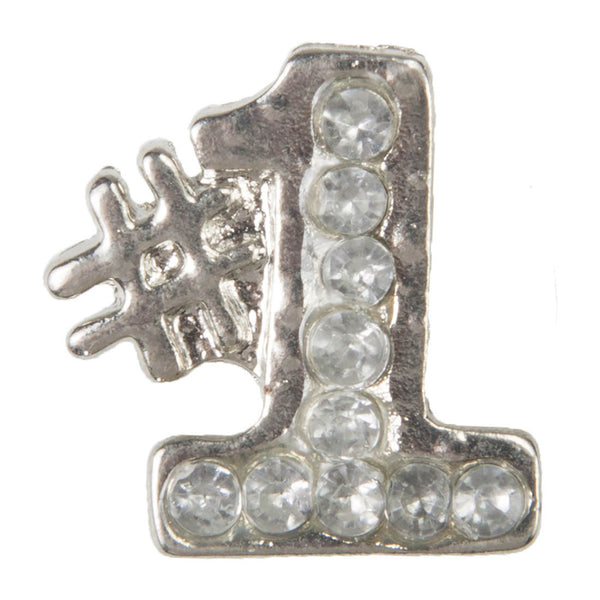 C/Z Dawg Tag Shoe Charm - #1 with Crystals