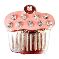 C/Z Dawg Tag Shoe Charm - Cupcake with Crystals