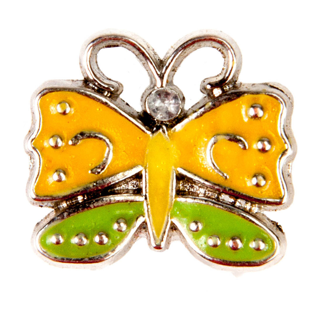 Mini Dawg Tags Shoe Charms - Yellow & Green Butterfly