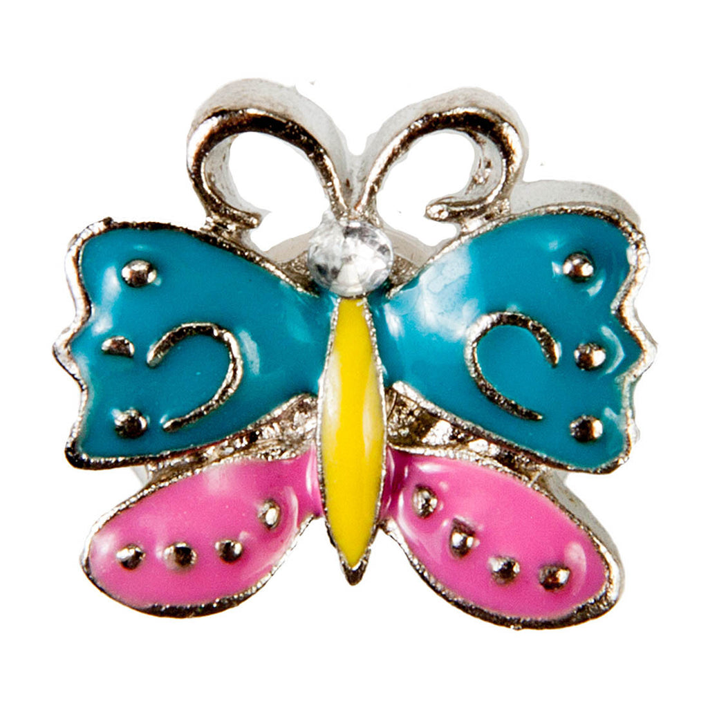 Mini Dawg Tags Shoe Charms - Blue & Pink Butterfly