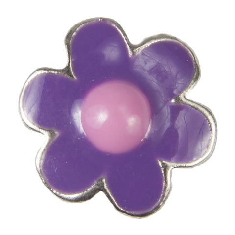 Mini Dawg Tag Shoe Charm - Purple & Pink Daisy