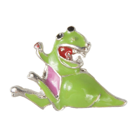 Mini Dawg Tag Shoe Charm - Dinosaur with Pink Belly