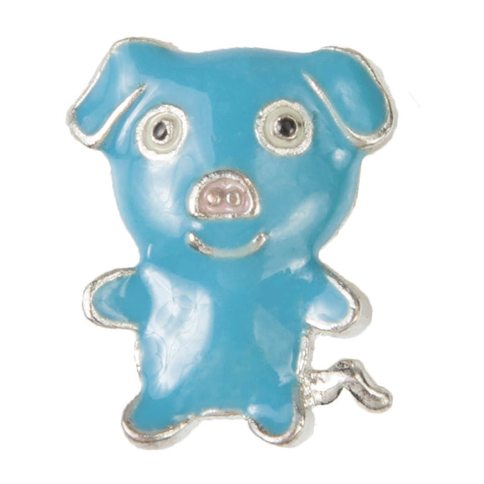 Mini Dawg Tag Shoe Charm - Blue Pig