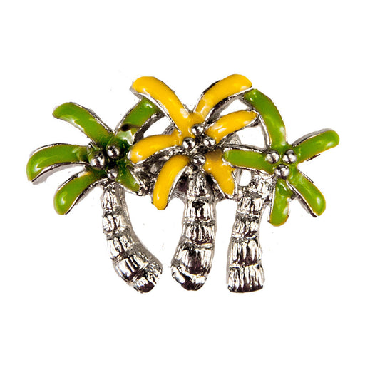 Enamel Dawg Tag Shoe Charm - Palm Trees