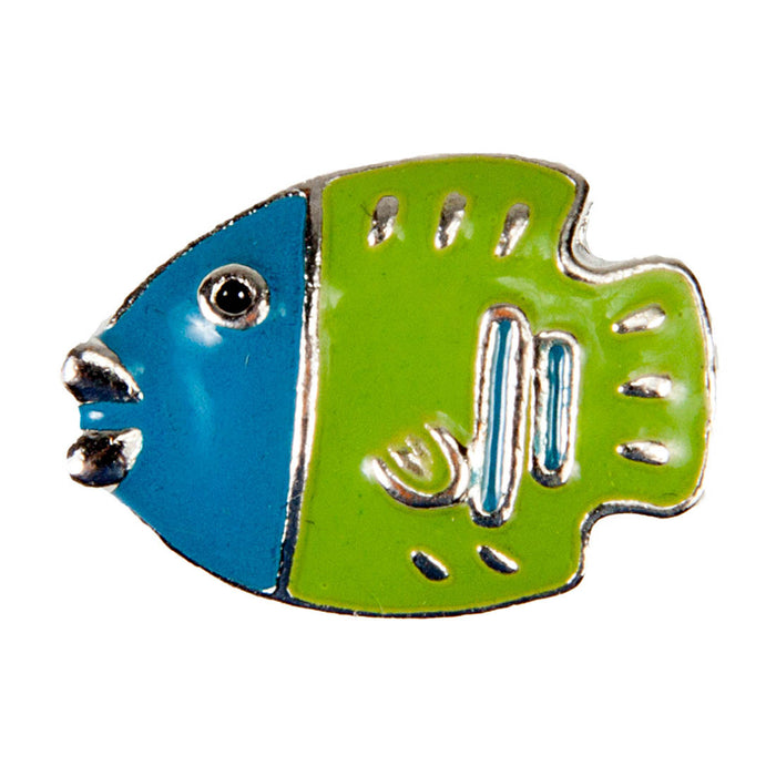 Enamel Dawg Tag Shoe Charm - Fish