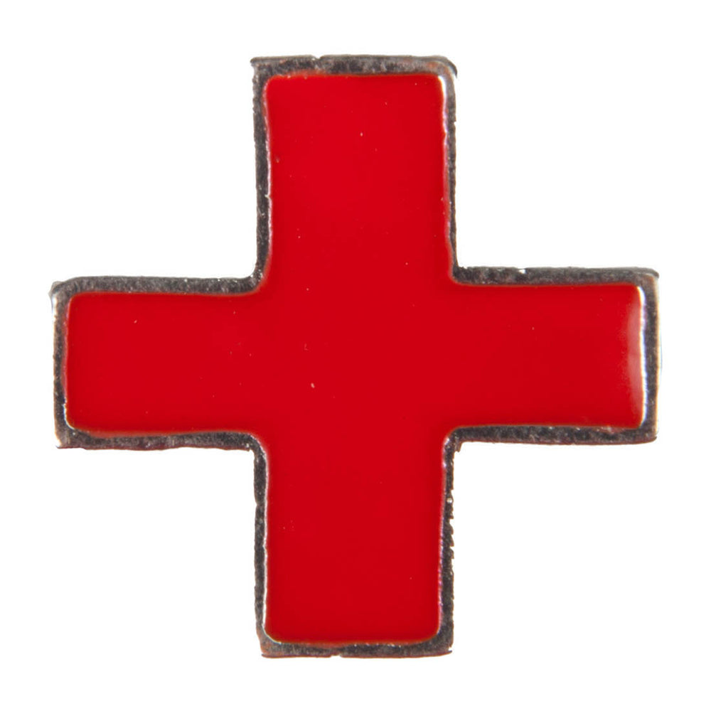 Enamel Dawg Tag Shoe Charm - Red Cross