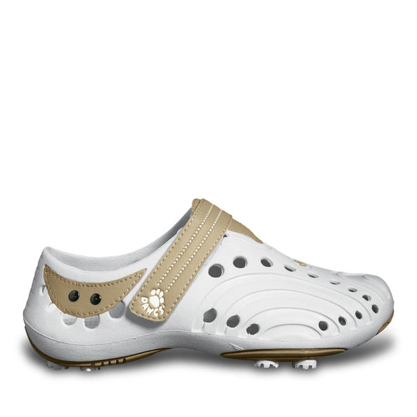 Women's Spirit Golf Shoes - White with Tan