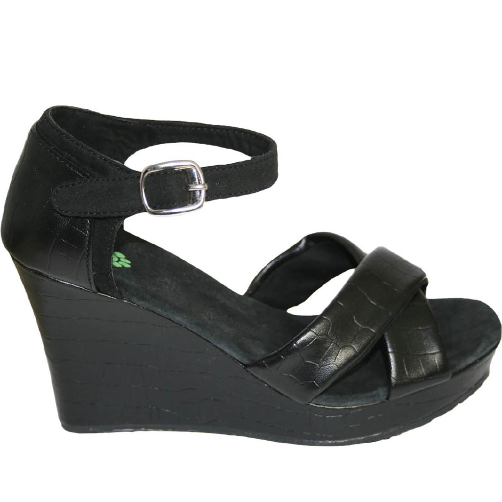Women's Kaymann 4-inch Sandal Wedges - Black Crocodile (Special Offer)